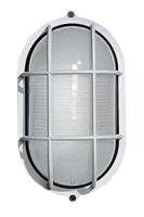 Marine Utility Light, white anodized aluminum housing and protective cage, E26 socket, multi-voltage, 60W max.